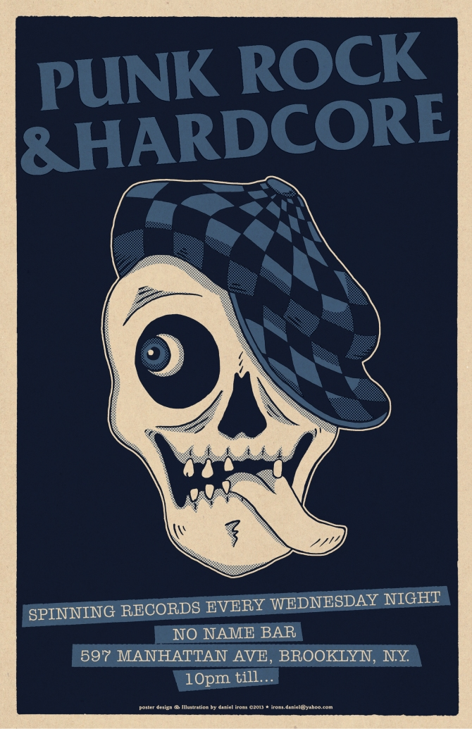 PUNKROCK & HARDCORE Poster for DJ at NO NAME BAR