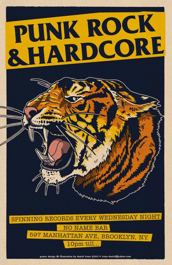 PUNKROCK & HARDCORE dj poster For No Name Bar Brooklyn