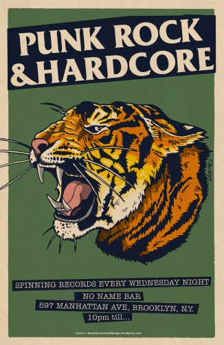 No Name Bar Poster - Tiger head